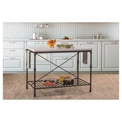 metal kitchen island cabinet supplies castille textured black white marble hillsdale furniture target