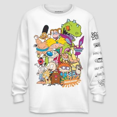 Men's Nickelodeon Long Sleeve Graphic T-Shirt White