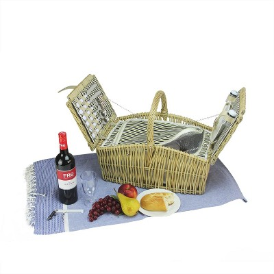 """Northlight 17.75"""" Hand Woven Natural Willow Insulated 2-Person Picnic Basket and Accessory Set - Gray"""