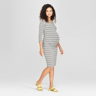 Maternity Striped 3/4 Sleeve Shirred T-Shirt Dress - Isabel Maternity by Ingrid & Isabel™ Gray