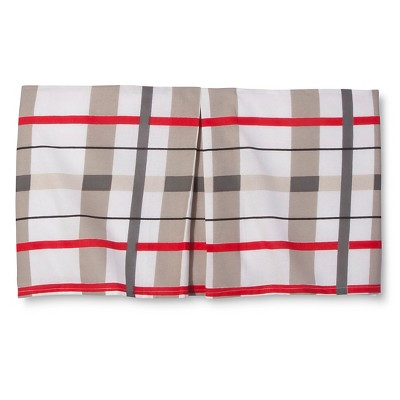 Rachel Kate™ Rock Animal Plaid Tailored Bed Skirt - Red/Gray (Twin)