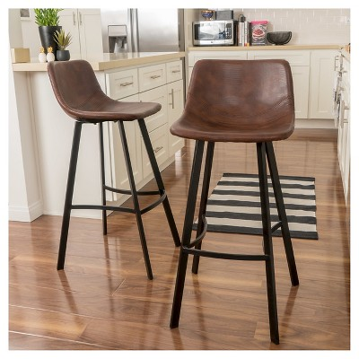 leather pub chair toddler table and chairs 30 dax faux barstool brown set of 2 christopher knight home target