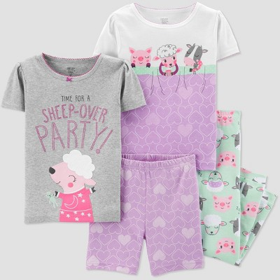 Baby Girls' 4pc Animal Sleepover Pajama Set - Just One You® made by carter's Gray/Purple/Green