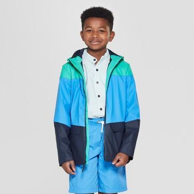 Boys' Pieced Rain Jacket - Cat & Jack™ Green/Blue/Navy