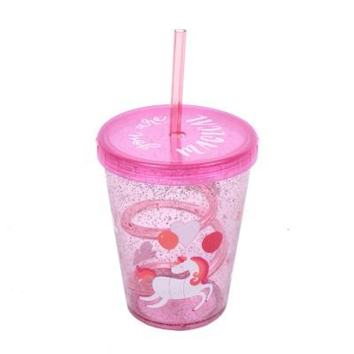 Cheeky 14.5oz Plastic Straw Tumbler Unicorn Pink