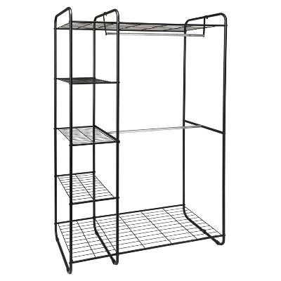 freestanding closet black silver room essentials