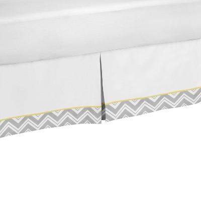 Sweet Jojo Designs Zig Zag Chevron Bedskirt -Yellow/Gray (Queen)