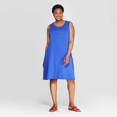 Women's Plus Size Sleeveless Crewneck Knit A-Line Dress - Ava & Viv™