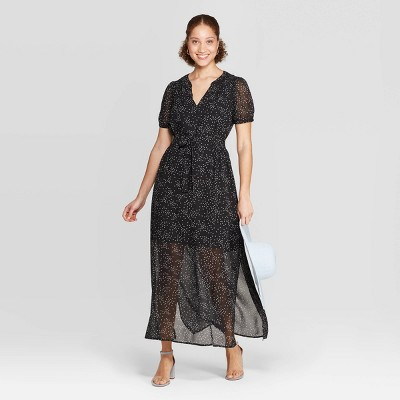 Women's Floral Print Casual Fit Short Sleeve Deep V-Neck Chiffon Maxi Dress - A New Day™ Black/White