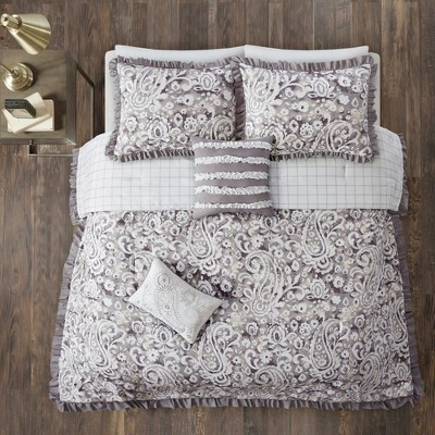 Full/Queen 5pc Kira Reversible Comforter Set Gray