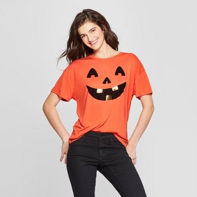 Women's Short Sleeve Jack O'Lantern Graphic T-Shirt - Modern Lux (Juniors') Orange