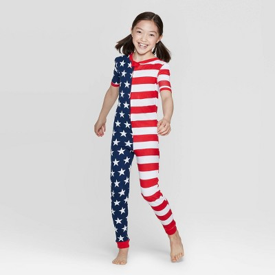 Snooze Button Kids Stars and Stripes Family Pajama Union Suit - Red