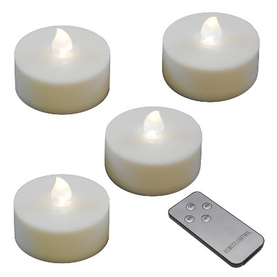 4ct Extra Large Battery Operated LED Tea Lights With Remote Control And 2 Timers White - Lumabase