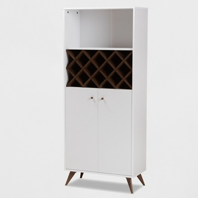 Serafino and Walnut Finished Wood Wine Cabinet White/Brown - BaxtonStudio