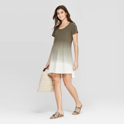 Women's Short Sleeve Scoop Neck T-Shirt Dress - Universal Thread™ Olive