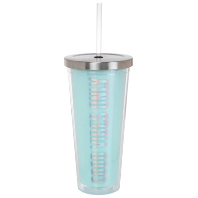 Slant Collections Girl on the Go 22oz Double Wall Tumbler - Good vibes only