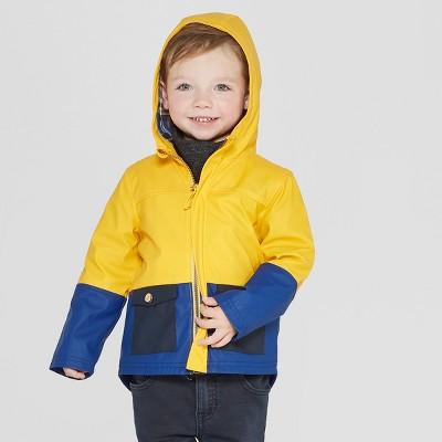 Genuine Kids® from OshKosh Toddler Boys' Colorblock Rain Jacket - Mustard Yellow/Blue