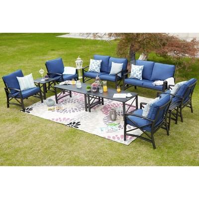 10pc conversation patio set blue patio festival