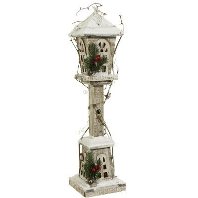 "Raz Imports Country Cabin Antique-Style Prelit Lamp Post Christmas Decoration 24"" - White/Brown"