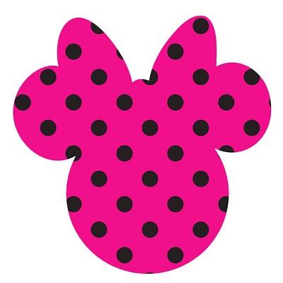 Disney Minnie Ears Large, Pink with black dots, Adhesive Printed Burlap, Pack of 6