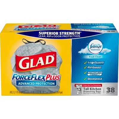 glad kitchen trash bags white chandelier forceflexplus febreze fresh scented advanced protection tall drawstring 38ct target