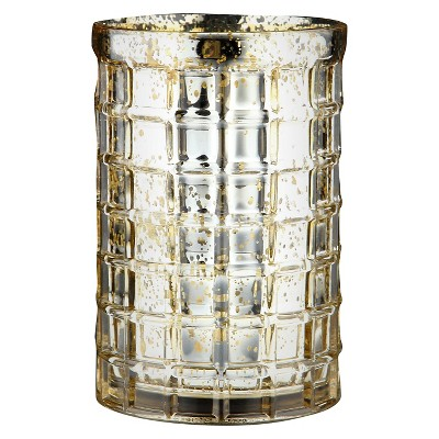 "7.5""x5"" Gold Glass Vase - Diamond Star"