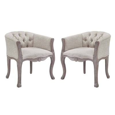 Set of 2 Crown Vintage French Upholstered Fabric Dining Armchair - Modway