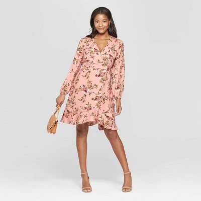 Women's Floral Print Long Sleeve Deep V-Neck Wrap Dress - Xhilaration™