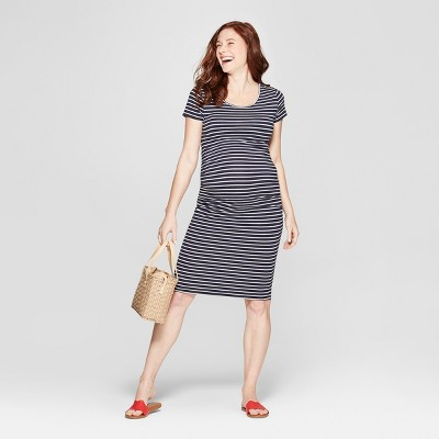 Maternity Striped Short Sleeve Shirred T-Shirt Dress - Isabel Maternity by Ingrid & Isabel™ Navy