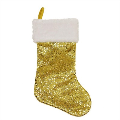 """Northlight 18"""" Shiny Metallic Gold Sequined Christmas Stocking with White Faux Fur Cuff"""