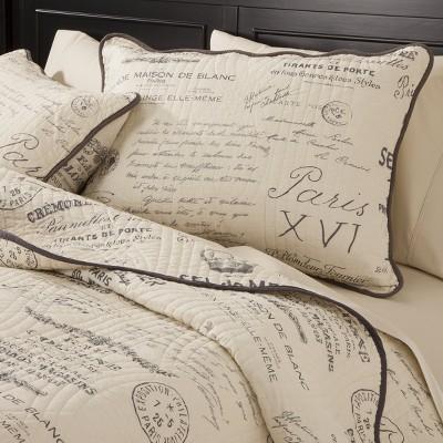 Gray&Cream Reversible Script Quilt Set 3 Piece - homthreads™