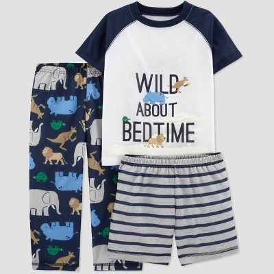 Toddler Boys' 3pc Poly Wild About Bedtime Pajama Set - Just One You® made by carter's Navy/Gray/White