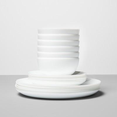 Glass 18pc Dinnerware Set White - Made By Design™