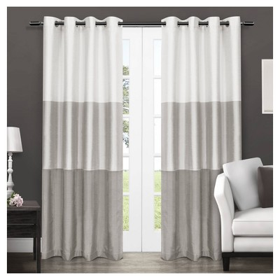 Set of 2 Chateau Striped Faux Silk Room Darkening Grommet Top Window Curtain Panels - Exclusive Home