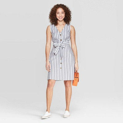 Women's Striped Sleeveless V-Neck Front Button-Down A-Line Dress - A New Day™ White