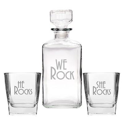 3ct We Rock Wedding Decanter & Glass Set