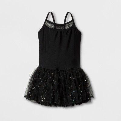 Danshuz Toddler Girls' Camisole Style ActiveDress With Embroidered Back And Foil Sequin Back Panels, Yoke And Triple Layer Skirt - Black 8-10
