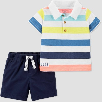Baby Boys' 2pc Bright Stripe Polo/Shorts Set - Just One You® made by carter's Blue/White