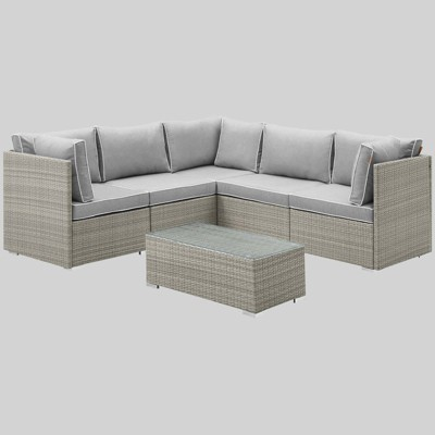 repose 6pc outdoor patio sectional set gray modway
