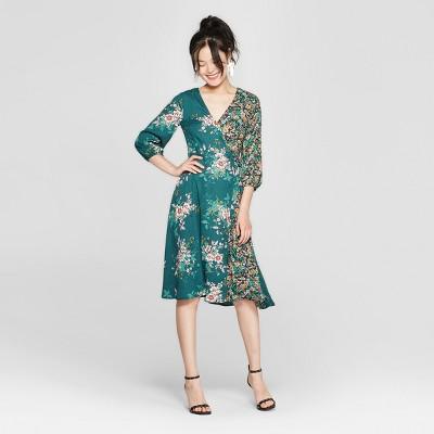Women's Floral Print Long Sleeve Midi Dress - 3Hearts (Juniors') Forest Green