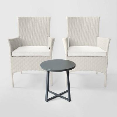 cheriton 3pc wicker patio chat set gray linen threshold