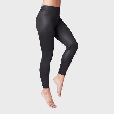 Women's Shiny Black Fleece Lined Leggings