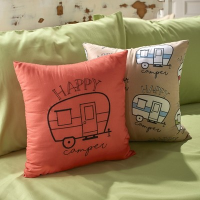 lakeside happy campers embroidered throw pillows with retro trailer set of 2