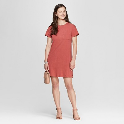 Women's Short Sleeve V-Neck T-Shirt Dress - Universal Thread™ Pink