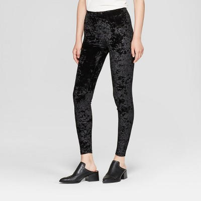 Women's Crushed Velvet Hosiery Leggings - Xhilaration™ Black