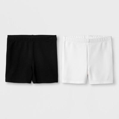 Toddler Girls' 2pk Biker Shorts - Cat & Jack™ White & Black