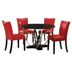 Round Dining Chairs Fishing Deck Chair Cinema Darwin Iohomes 5pc Fountain Chrome Pedestal Table With Red Wood Black Target