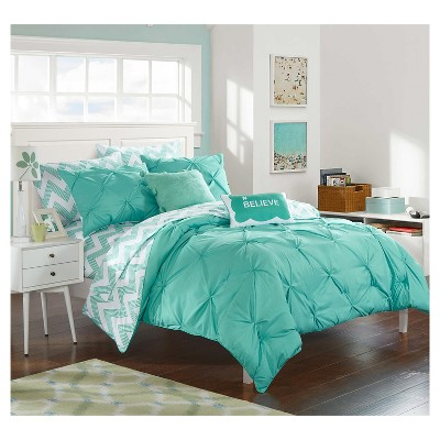 Foxville Pinch Pleated and Ruffled Chevron Print Reversible Multi Piece Comforter Set - Chic Home Design®