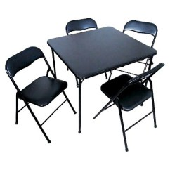 Target Folding Table And Chairs Wing Chair With Ottoman 5 Piece Set Black Plastic Dev Group