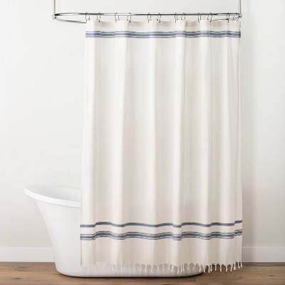 embroidered dobby stripe shower curtain sour cream blue hearth hand with magnolia